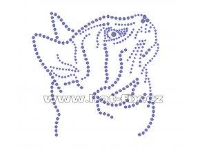 ZA023 - hlava kočky hot-fix nažehlovací kamínková aplikace na tričko, textil, cca rozměry 12,8x12,5cm