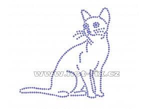 ZA024 - sedící kočka hot-fix nažehlovací kamínkový potisk na tričko, textil, cca rozměry 11,7x11,7cm