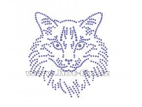 ZA025 - kočka hlava hot-fix nažehlovací kamínkový potisk na tričko, textil, cca rozměry 10,5x11,2cm