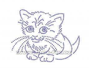 ZA026 - kotě hot-fix nažehlovací kamínkový potisk na tričko, textil, cca rozměry 13,7x10,5cm