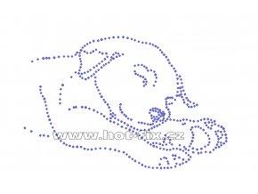 ZP008 - štěně spící hot-fix nažehlovací kamínková aplikace na tričko, textil, cca rozměry cca 18,6x12,0cm