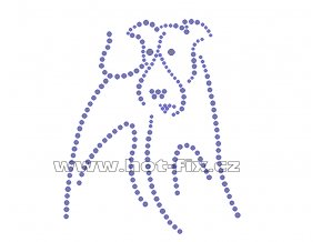 ZP018 - pes hot-fix nažehlovací kamínkový potisk na tričko, textil, cca rozměry 10,4x12,7cm
