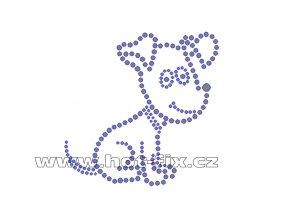 ZP020 - pes hot-fix nažehlovací kamínkový potisk na tričko, textil, cca rozměry 9,4x9,2cm