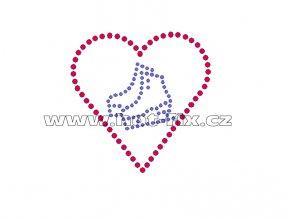 C126 - brusle a srdce hot-fix nažehlovací potisk z hot-fix kamenů, rozměry cca 7,6x7,6cm