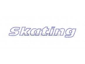 C127 - Skating nažehlovací potisk z hot-fix kamenů na tričko, textil pro příznivce krasobruslení, rozměry cca 18,6x3,1cm