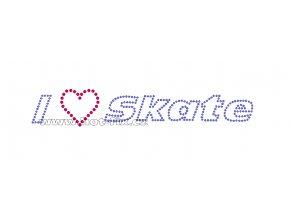 C129 - I love Skate nažehlovací potisk z hot-fix kamenů na tričko, textil, rozměry cca 20,1x3,5cm