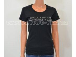 TDA03-31 dámské tričko s hot-fix kamínkovým nápisem EXKLUSIVE