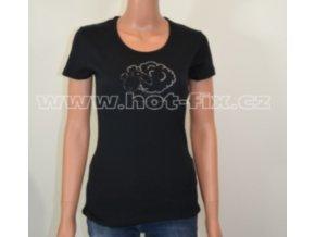 TDA10-31 dámské tričko s hot-fix kamínkovou aplikací CRAZY SHEEP