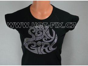 TDA11-113 tričko s hot-fix kamínkovou aplikací SEXY GIRLS