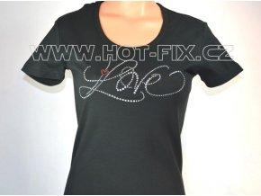 TDA20-31 dámské tričko s hot-fix kamínkovým nápisem LOVE