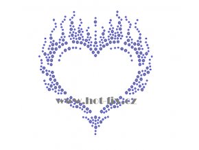 SB003 srdce s plameny hot fix nažehlovací aplikace na textil, tričko hot fix kameny