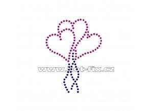 SB004 srdce balonky hot fix nažehlovací potisk na textil, tričko hot fix kameny