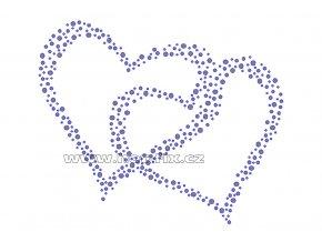 SB005 dvě srdce hot fix nažehlovací potisk na textil, tričko hot fix kameny