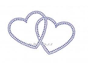 SB009 dvě srdce hot fix nažehlovací potisk na textil, tričko hot fix kameny