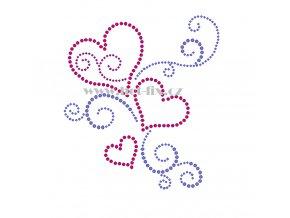 SB011 srdce hot fix nažehlovací potisk na textil, tričko hot fix kameny