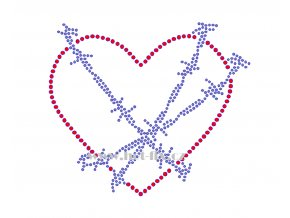 SB012 srdce drát nažehlovací potisk na textil hot fix kamínky