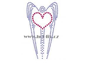 SB013 srdce s křídly nažehlovací potisk na textil hot fix kamínky