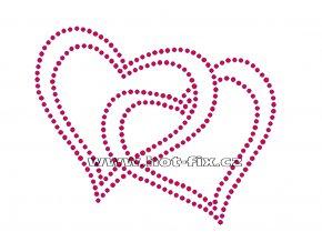 SB023 spojená srdce nažehlovací potisk na triko, textil hot fix kamínky