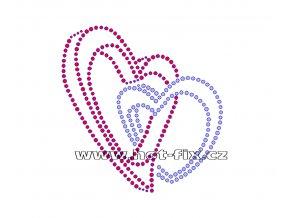 SB026 spojená srdce hot fix kamínková nažehlovačka na tričko, textil hot fix kameny