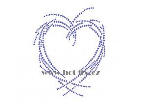 SB027 srdce nažehlovací potisk na triko, textil hot fix kamínky