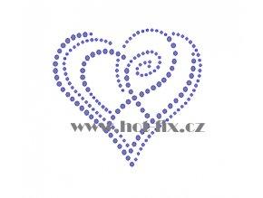 SB028 srdce nažehlovací potisk na triko, textil hot fix kamínky