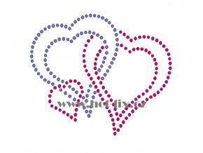 SB029 tři spojená srdce nažehlovací potisk na triko, textil hot fix kamínky