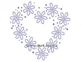SB030 A srdce kytky nažehlovací potisk na triko, textil hot fix kamínky