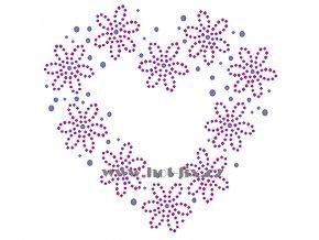 SB030 B srdce květiny nažehlovací potisk na triko, textil hot fix kamínky