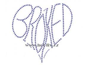SB031 srdce broked nažehlovací potisk na triko, textil hot fix kamínky