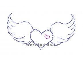 SB032 srdce s křídly nažehlovací potisk na triko, textil hot fix kamínky
