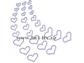 SB033 srdce pás nažehlovací potisk na triko, textil hot fix kamínky