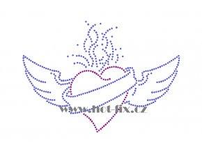 SB034 hořící srdce s křídly nažehlovací potisk na triko, textil hot fix kameny