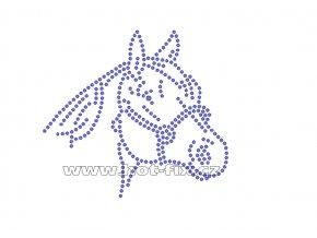 ZK016 hlava koně nažehlovací potisk na triko, textil skleněné hot fix kamínky