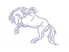 ZK017 kůň nažehlovací potisk na triko, textil skleněné hot fix kamínky
