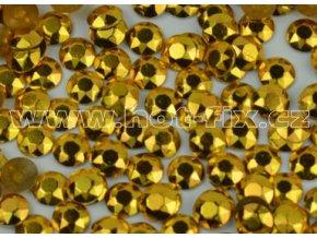 Octagon kovové hot fix kameny na textil barva zlatá