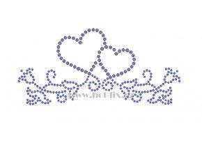 SB041 2 srdce hot fix nažehlovací kamínková aplikace na triko, textil hot fix kameny