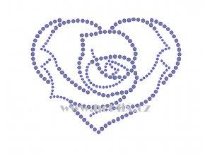 SB042 srdce růže hot fix nažehlovací kamínková aplikace na triko, textil hot fix kameny