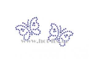 ZM010 2 motýli motýl hot fix nažehlovací aplikace na tričko, textil hot fix kamínky