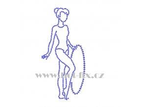 C135 gymnastka nažehlovací kamínkový potisk na tričko, textil skleněné hot fix kamínky