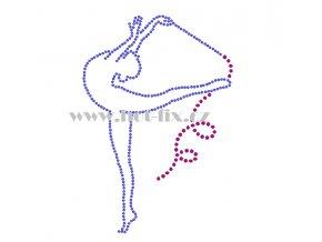 C140 gymnastka hot fix nažehlovací potisk na tričko, textil hot fix kamínky