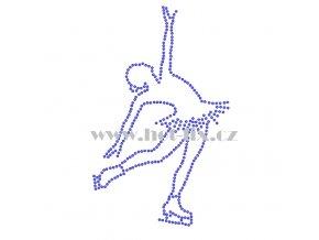 C147 - krasobruslařka nažehlovací hot-fix kamínkový potisk na textil, rozměry 10,4x16,8cm