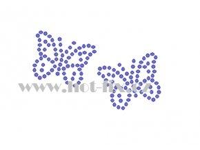 ZM050 2 motýli hot fix nažehlovací potisk na tričko, textil hot fix kamínky