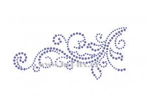 A094 verze L abstraktní květinový motiv nažehlovací potisk na textil hot fix kamínky