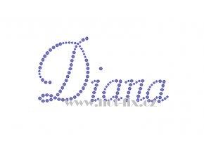 Diana jméno nažehlovací aplikace nažehlovací kamínkový potisk na textil hot fix kameny