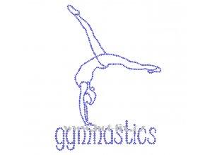 C156 nápis gymnastics a gymnastka hot fix nažehlovací potisk na tričko, textil pro hot fix kamínky