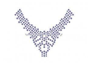 OV018 výstřih nažehlovací kamínkový potisk na tričko, textil hot fix kameny