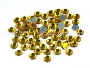 137 Topaz zlatý nažehlovací skleněné hot fix kamínky na textil