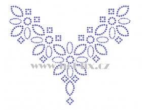 OV019 výstřih výstřih nažehlovací kamínkový potisk na tričko, textil hot fix kameny