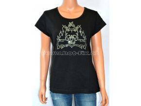 dámské tričko s hot fix kameny Lebka s plameny