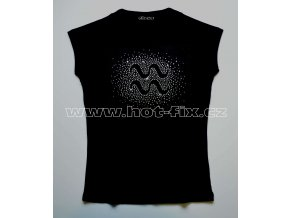 11 Vodnář dámské tričko s kamínky znamení zvěrokruhu, znamení Kozoroh hot fix kameny rozptyl